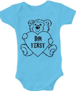 baby bodystocking din tekst i bamse blaa