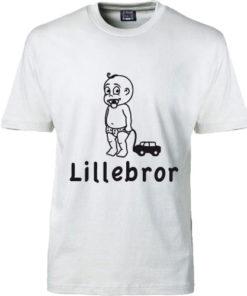 T-shirt lillebror med bil hvid