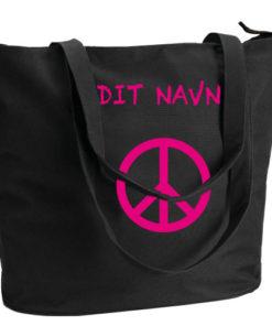 Indkoebsnet dit navn og peace tegn i pink sort