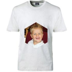 T-shirt dit foto sekskant hvid
