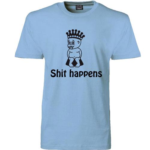 t-shirt shit happens prins blaa