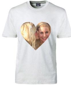 T-shirt dit foto hjerte hvid