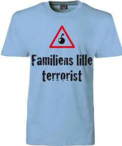 t-shirt familiens lille terrorist blaa
