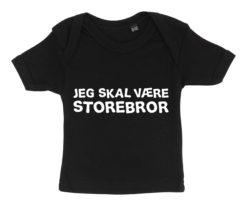 Baby t-shirt jeg skal vaere storebror sort