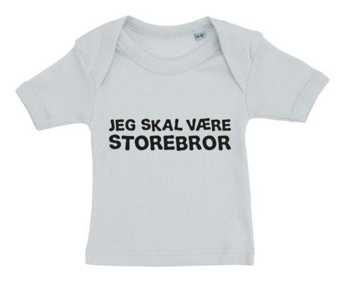 Baby t-shirt jeg skal vaere storebror blaa