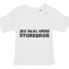 Baby t-shirt jeg skal vaere storebror hvid