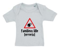Baby t-shirt Familiens lille terrorist 2020 blaa