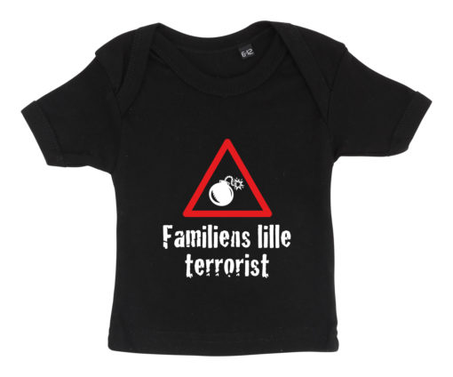 Baby t-shirt Familiens lille terrorist 2020 sort
