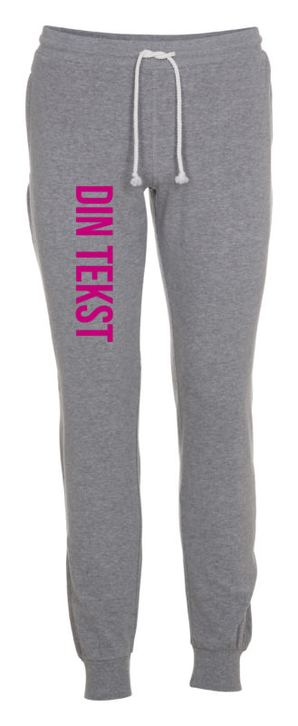 Joggingbukser med din tekst pink skrift graa