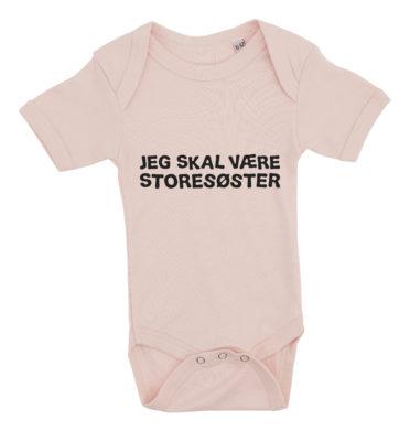 Baby bodystocking jeg skal vaere storesoester pink