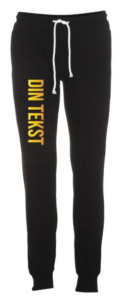 Joggingbukser med din tekst guld skrift sort