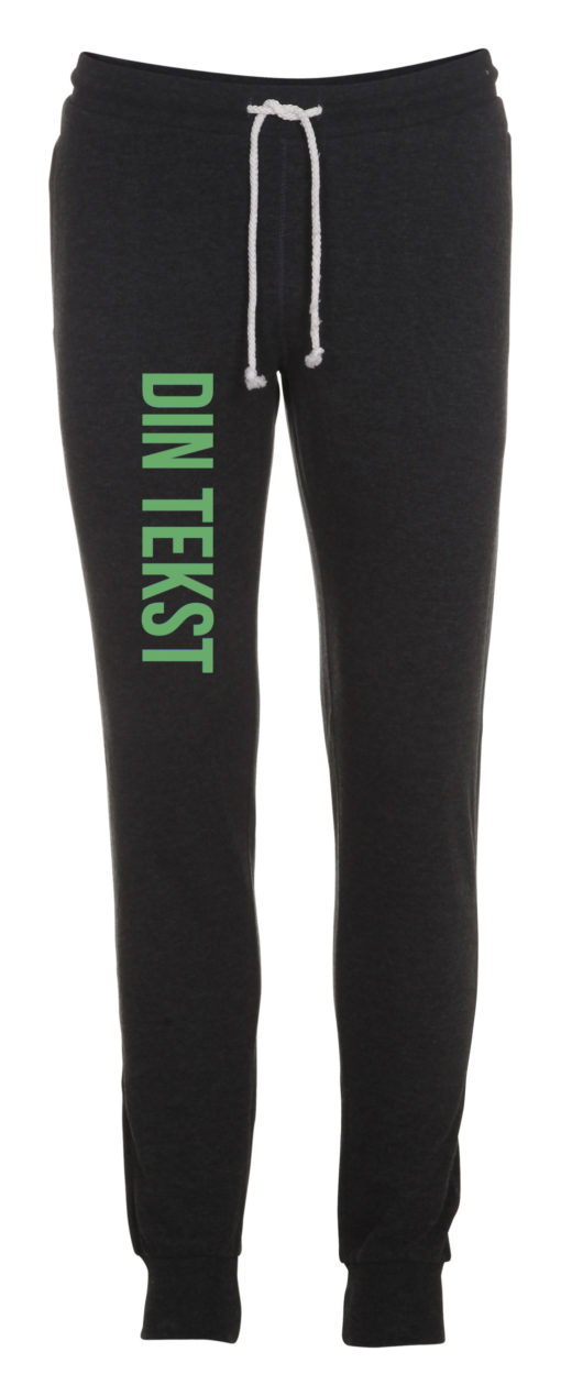 Joggingbukser med din tekst groen skrift antracit