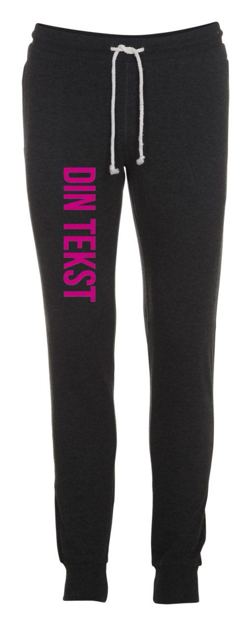Joggingbukser med din tekst pink skrift antracit