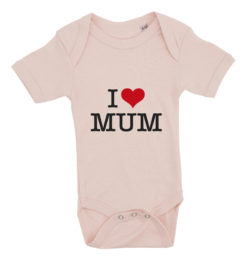 baby bodystocking i love mum lyseroed