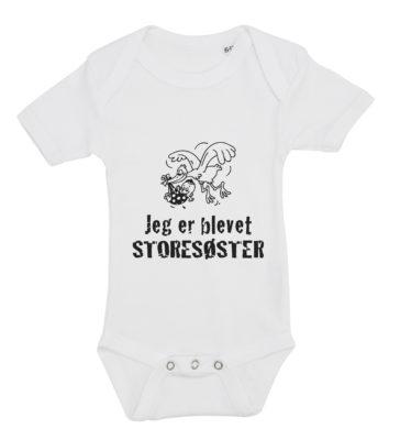 baby bodystocking jeg er blevet storesøster hvid