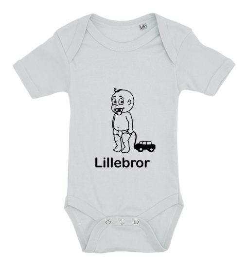 baby bodystocking lillebror med bil blaa