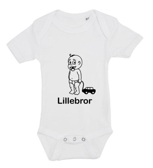 baby bodystocking lillebror med bil hvid