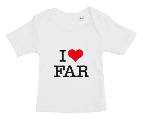 baby t-shirt i love far hvid