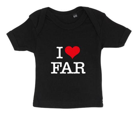 baby t-shirt i love far sort