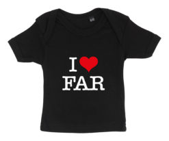 baby t-shirt i love far sort