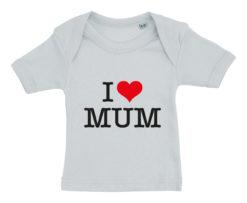 baby t-shirt i love mum blaa