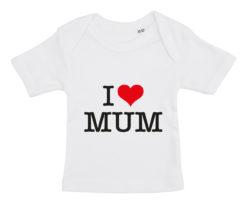baby t-shirt i love mum hvid