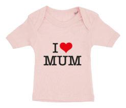baby t-shirt i love mum lyseroed