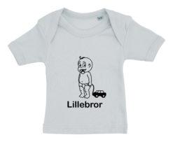 baby t-shirt lillebror med bil blaa