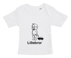 baby t-shirt lillebror med bil hvid