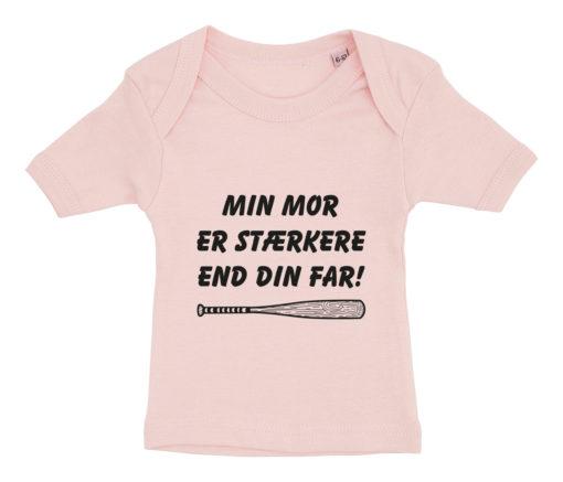 baby t-shirt min mor er staerkere end din far lyseroed
