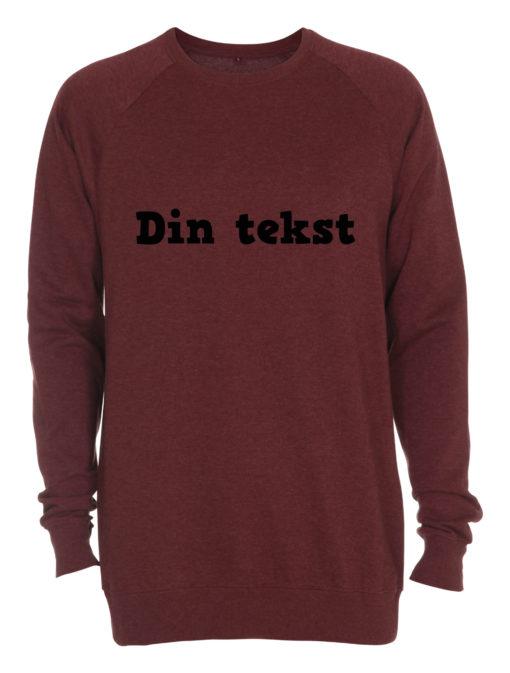 rød crewneck sweatshirt med din tekst