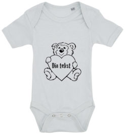 baby bodystocking bamsetryk din tekst blaa