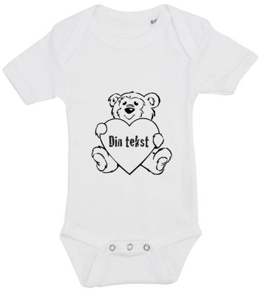 baby bodystocking bamsetryk din tekst hvid