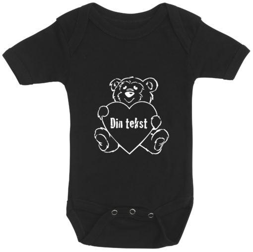 baby bodystocking bamsetryk din tekst sort