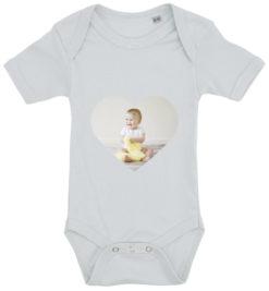 baby bodystocking dit foto hjerte blaa
