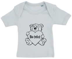 baby t-shirt bamsetryk din tekst blaa