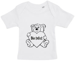 baby t-shirt bamsetryk din tekst hvid