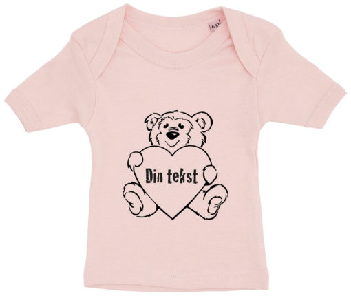 baby t-shirt bamsetryk din tekst lyseroed