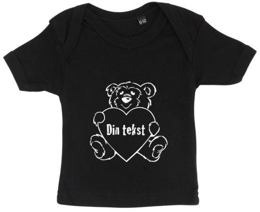 baby t-shirt bamsetryk din tekst sort