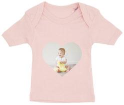 baby t-shirt dit foto hjerte lyseroed