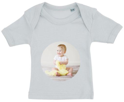 baby t-shirt dit foto rund blaa