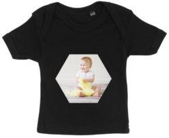 baby t-shirt dit foto sekskant sort