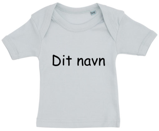 baby t-shirt dit navn comic blaa