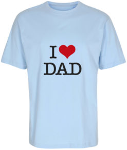 boerne t-shirt i love dad lyseblaa