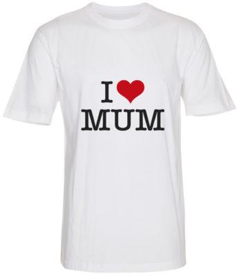boerne t-shirt i love mum hvid