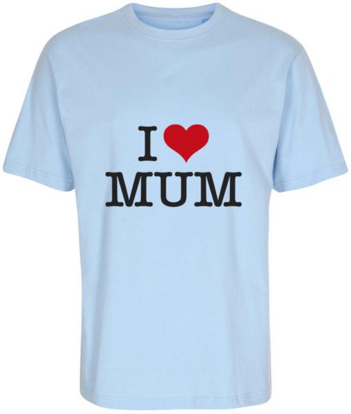 boerne t-shirt i love mum lyseblaa
