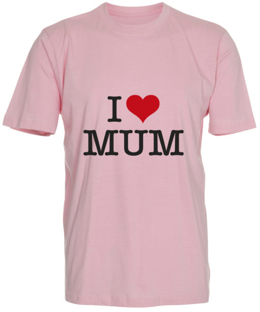 boerne t-shirt i love mum lyseroed