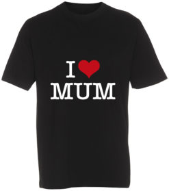 boerne t-shirt i love mum sort