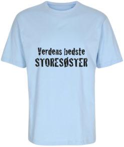 boerne t-shirt verdens bedste lillesoester lyseblaa