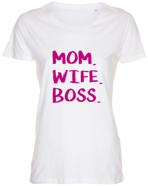 dame t-shirt mom wife boss hvid pink